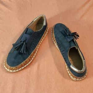 """New slip on loafers, cork & blue """"suede,"""" sz 9-9.5"""